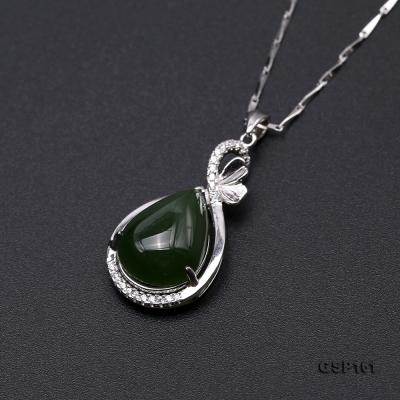 Charming 11.5x16.5mm Green Hetian Jade Pendant in 925 Silver GSP161 Image 6