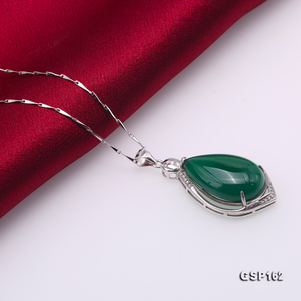 Charming 16x23mm Green Chalcedony Pendant in 925 Silver big Image 5