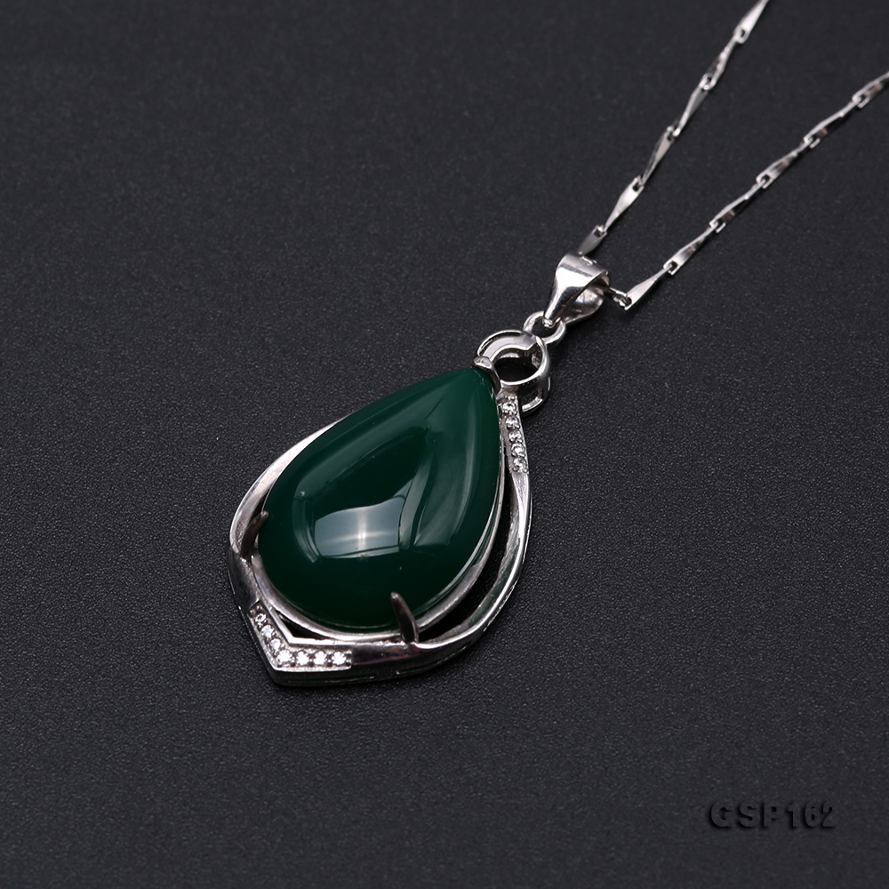 Charming 16x23mm Green Chalcedony Pendant in 925 Silver big Image 6