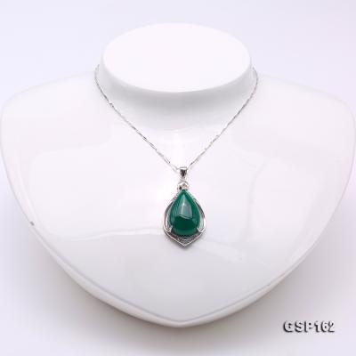 Charming 16x23mm Green Chalcedony Pendant in 925 Silver GSP162 Image 2
