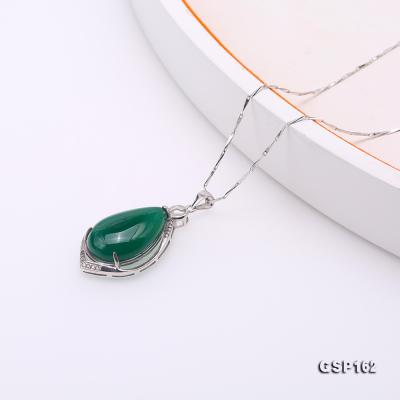 Charming 16x23mm Green Chalcedony Pendant in 925 Silver GSP162 Image 4