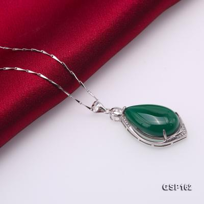 Charming 16x23mm Green Chalcedony Pendant in 925 Silver GSP162 Image 5