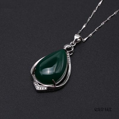Charming 16x23mm Green Chalcedony Pendant in 925 Silver GSP162 Image 6