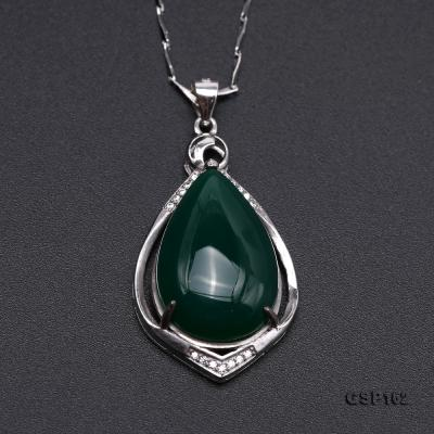 Charming 16x23mm Green Chalcedony Pendant in 925 Silver GSP162 Image 7