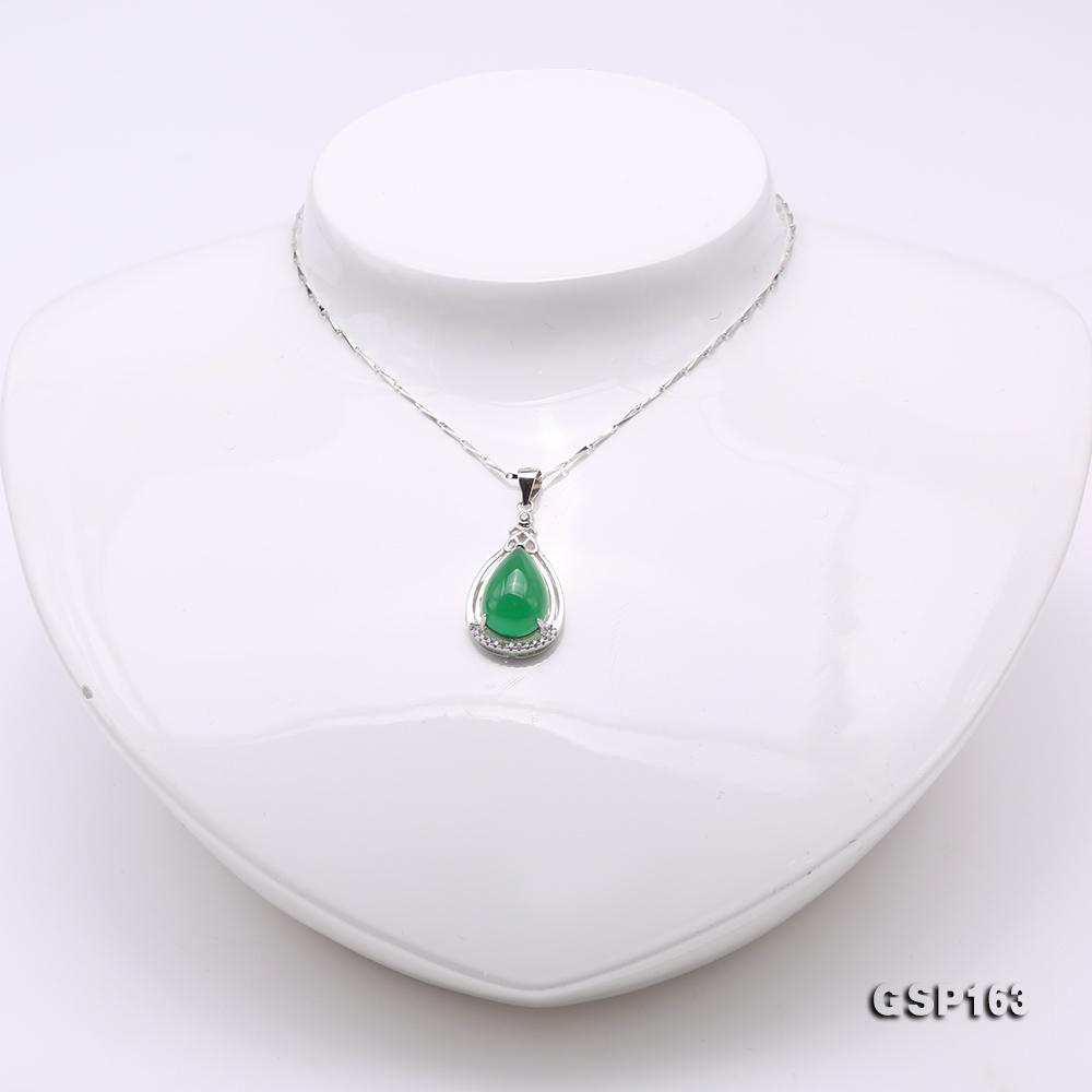 Charming 10x16mm Green Chalcedony Pendant in 925 Silver big Image 2