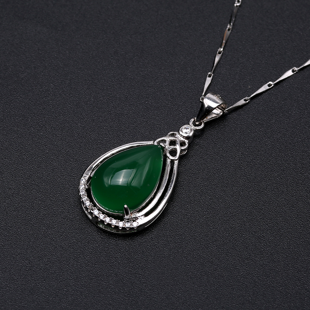 Charming 10x16mm Green Chalcedony Pendant in 925 Silver big Image 6