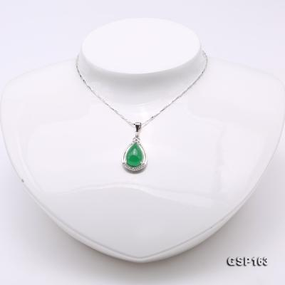 Charming 10x16mm Green Chalcedony Pendant in 925 Silver GSP163 Image 2