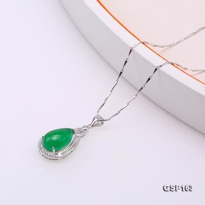 Charming 10x16mm Green Chalcedony Pendant in 925 Silver GSP163 Image 4