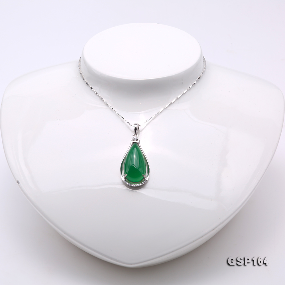 Charming 13x24mm Green Chalcedony Pendant in 925 Silver big Image 2