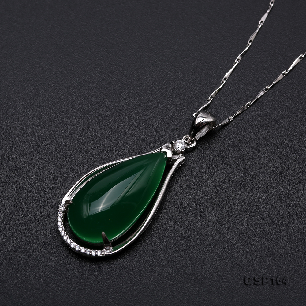 Charming 13x24mm Green Chalcedony Pendant in 925 Silver big Image 6