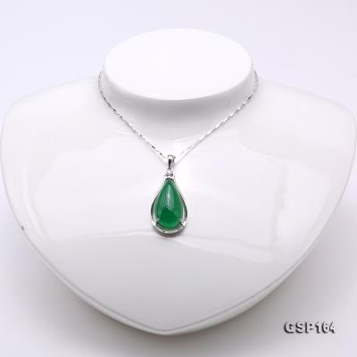 Charming 13x24mm Green Chalcedony Pendant in 925 Silver GSP164 Image 2