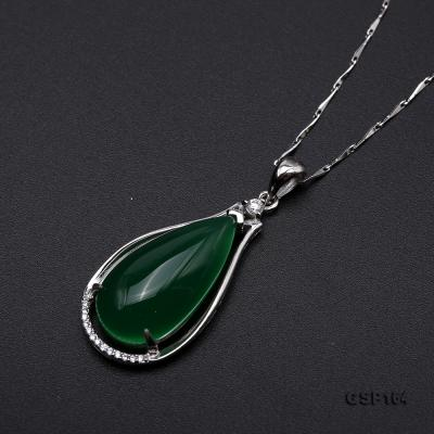 Charming 13x24mm Green Chalcedony Pendant in 925 Silver GSP164 Image 6