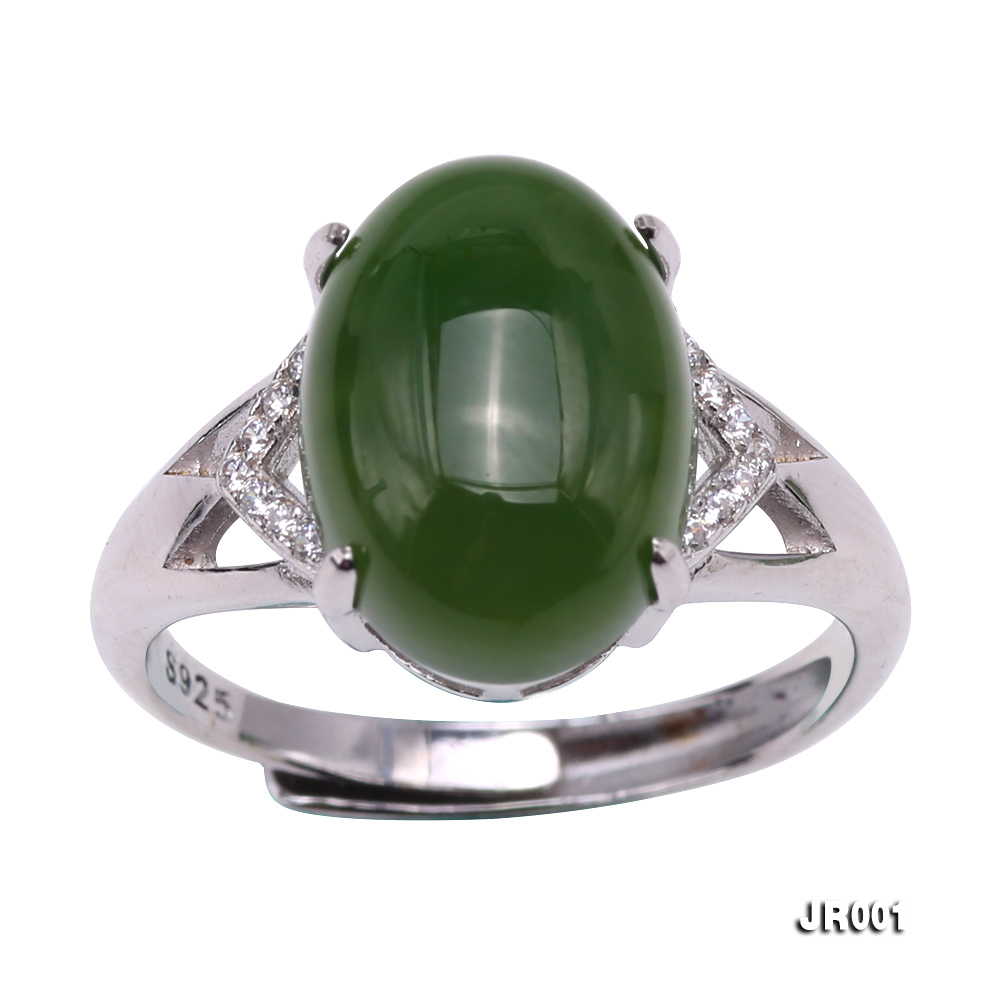 Charming 10x14mm Green Jasper Ring in 925 Silver big Image 1