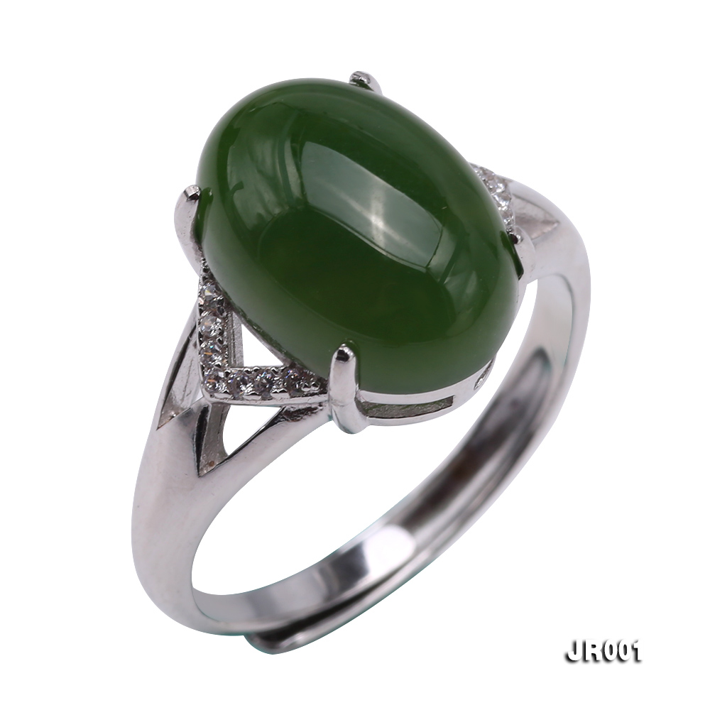 Charming 10x14mm Green Jasper Ring in 925 Silver big Image 2