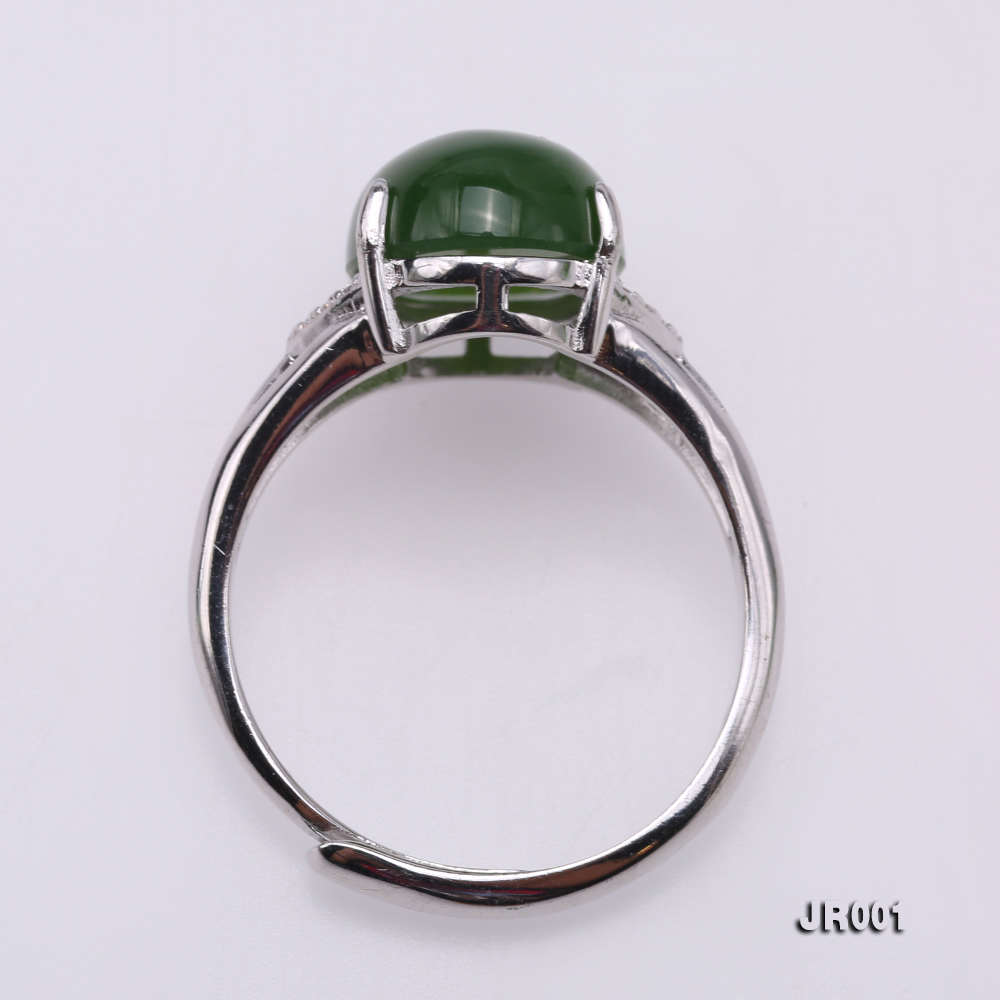 Charming 10x14mm Green Jasper Ring in 925 Silver big Image 3