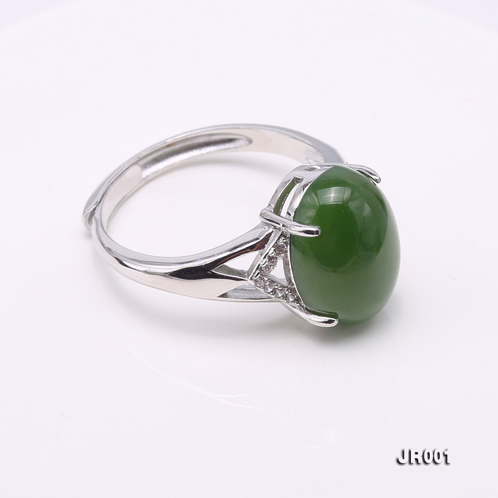 Charming 10x14mm Green Jasper Ring in 925 Silver big Image 4