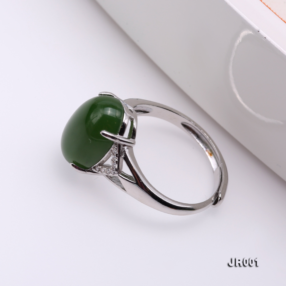 Charming 10x14mm Green Jasper Ring in 925 Silver big Image 5