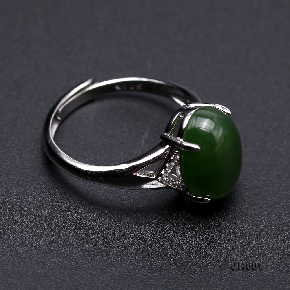 Charming 10x14mm Green Jasper Ring in 925 Silver big Image 6