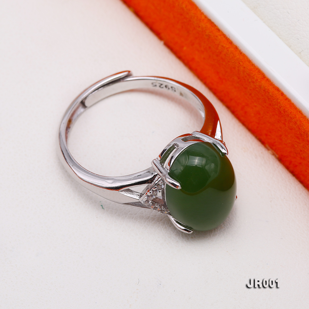Charming 10x14mm Green Jasper Ring in 925 Silver big Image 7