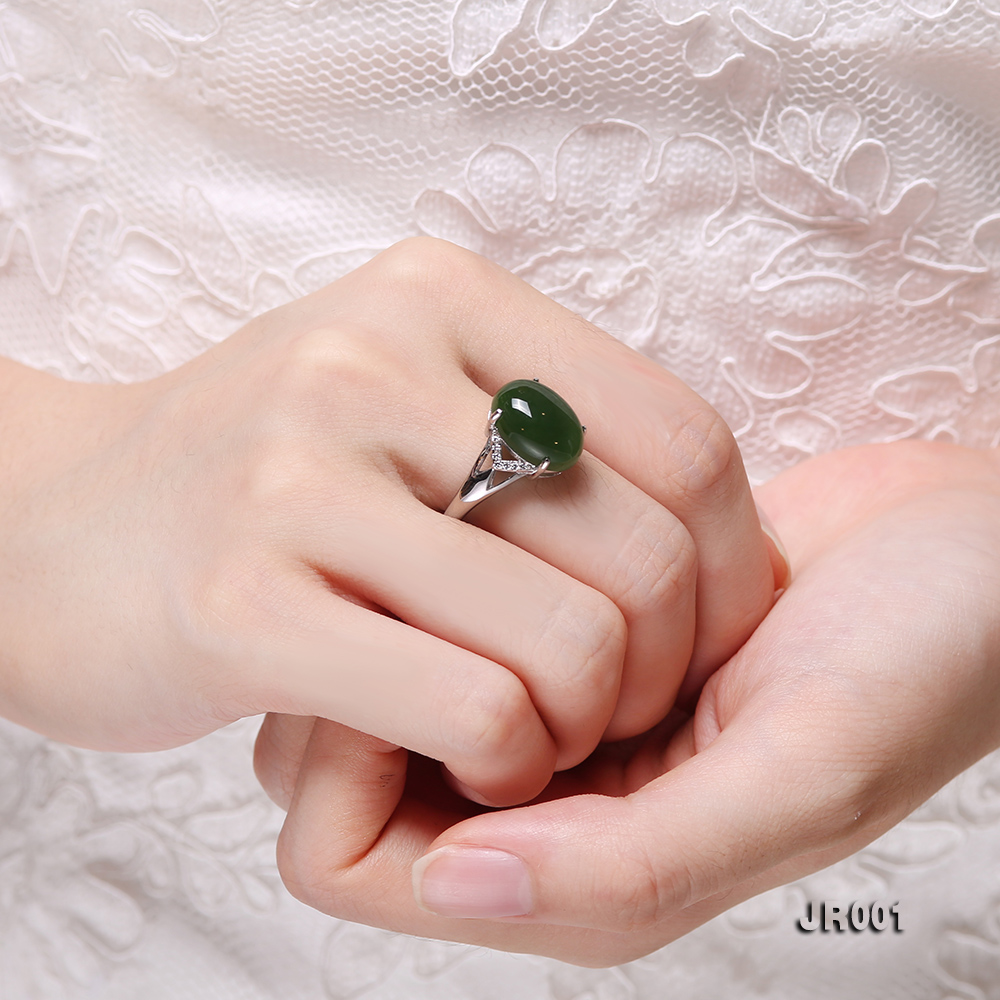 Charming 10x14mm Green Jasper Ring in 925 Silver big Image 8