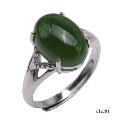 Charming 10x14mm Green Jasper Ring in 925 Silver JR001 Image 2