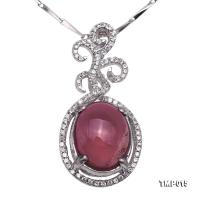Charming 9x12mm Pink Tourmaline Pendant in 925 Silver TMP015