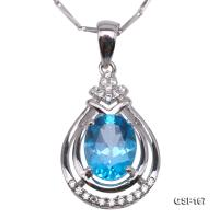 Delicate 7x9mm Blue Topaz Pendant in Sterling Silver GSP167
