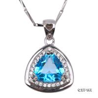 Delicate 8-9mm Blue Topaz Pendant in Sterling Silver GSP168