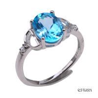 Delicate 8x10mm Natural Blue Topaz Sterling Silver Ring GFR001