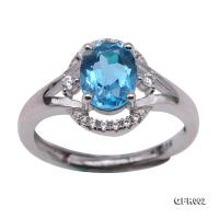 Delicate 6x8mm Natural Blue Topaz Sterling Silver Ring GFR002