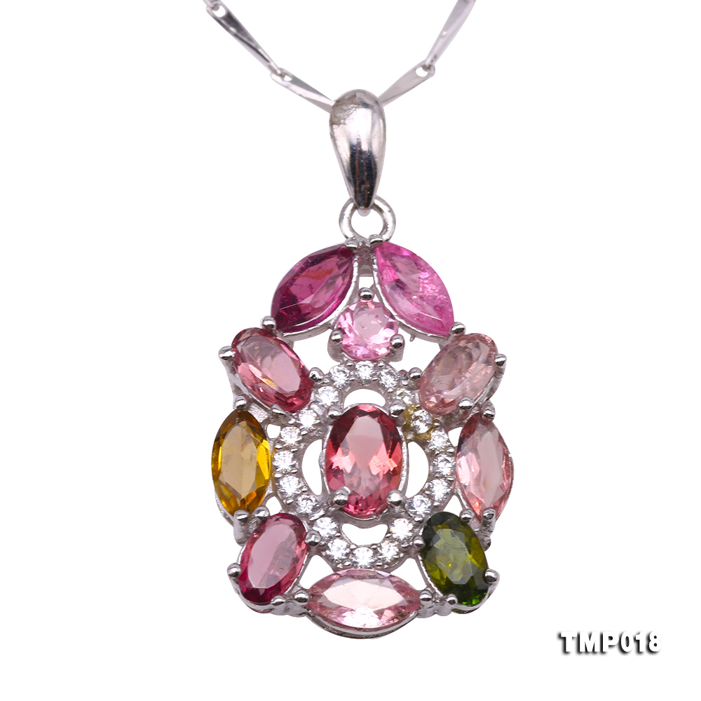 Exquisite 2.5x6mm Colorful Tourmaline Pendant in Silver big Image 1