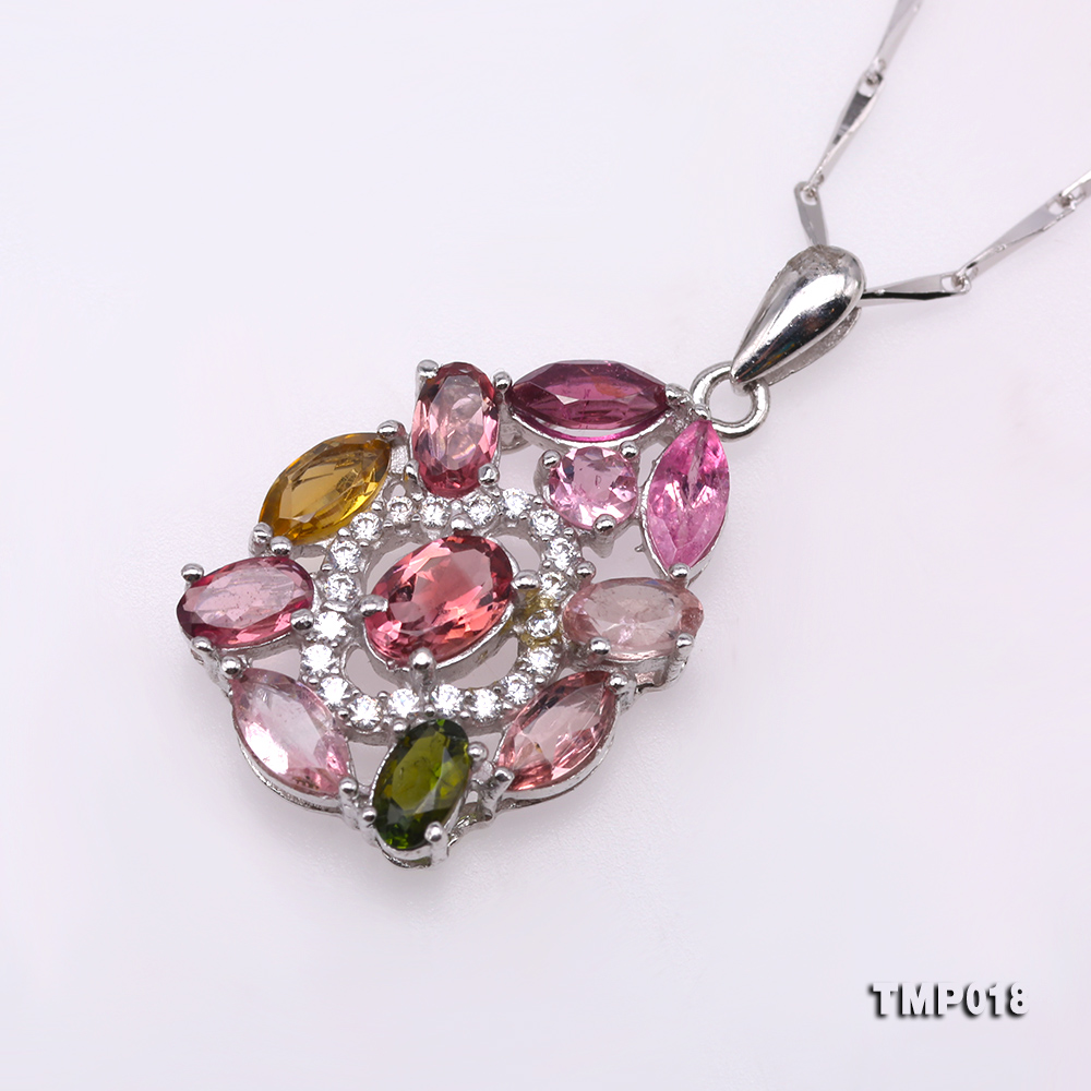 Exquisite 2.5x6mm Colorful Tourmaline Pendant in Silver big Image 2