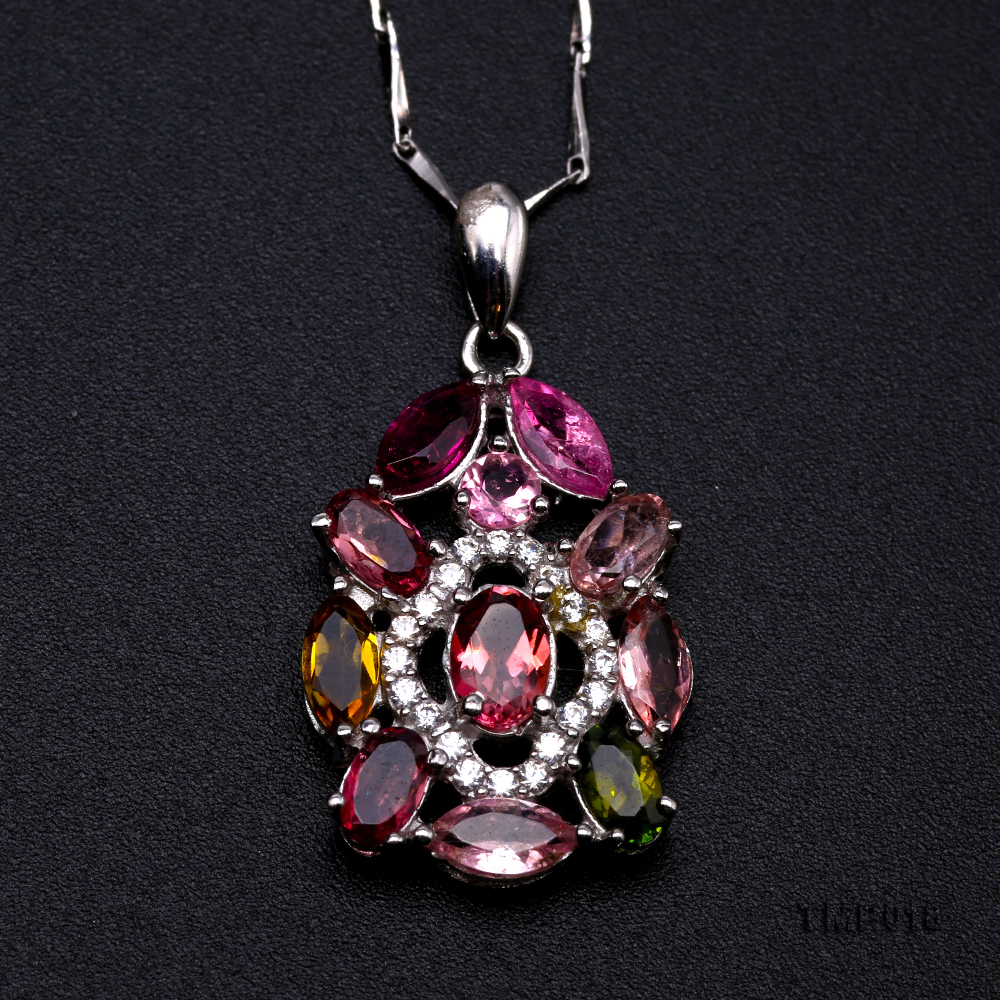 Exquisite 2.5x6mm Colorful Tourmaline Pendant in Silver big Image 6