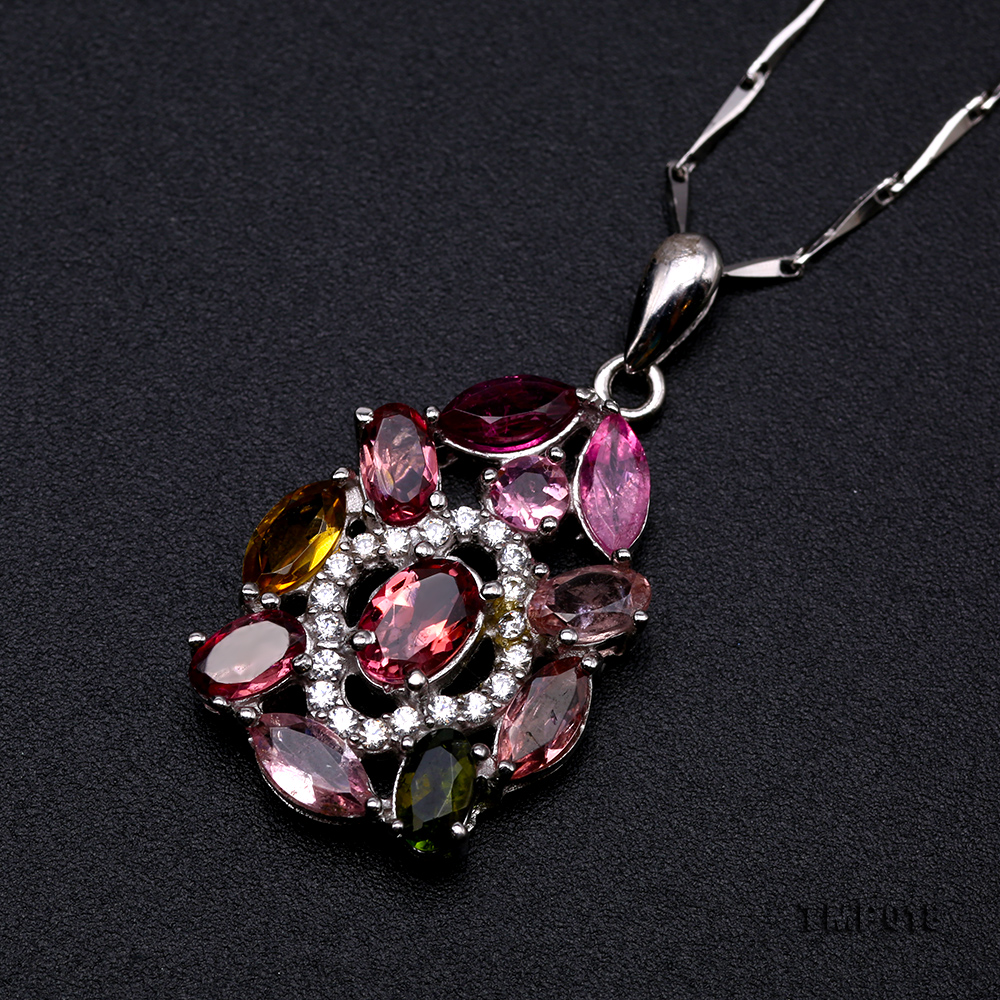 Exquisite 2.5x6mm Colorful Tourmaline Pendant in Silver big Image 7