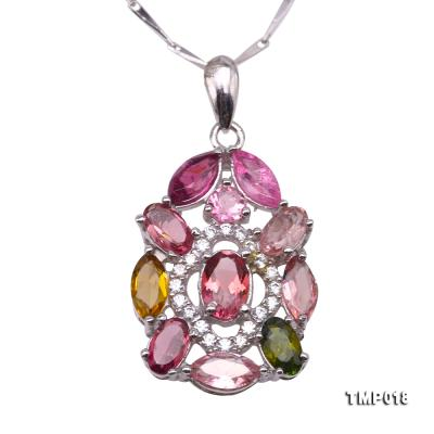 Exquisite 2.5x6mm Colorful Tourmaline Pendant in Silver TMP018 Image 1
