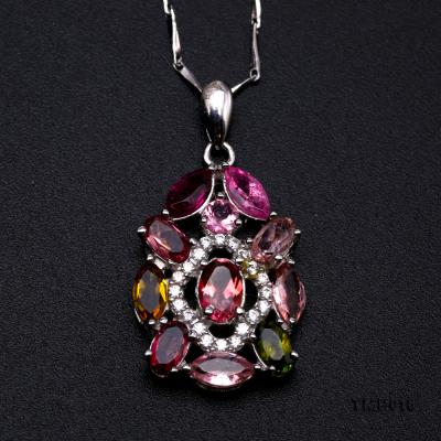 Exquisite 2.5x6mm Colorful Tourmaline Pendant in Silver TMP018 Image 6