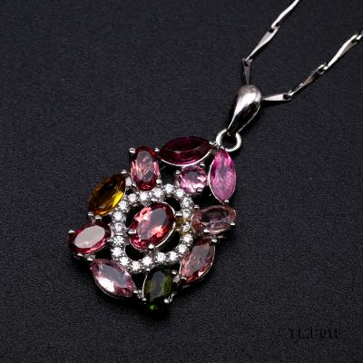 Exquisite 2.5x6mm Colorful Tourmaline Pendant in Silver TMP018 Image 7