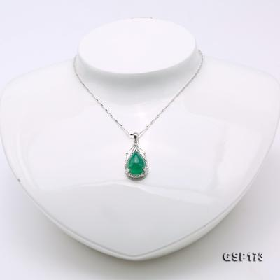 Charming 10x14mm Green Chalcedony Pendant in 925 Silver GSP173 Image 3