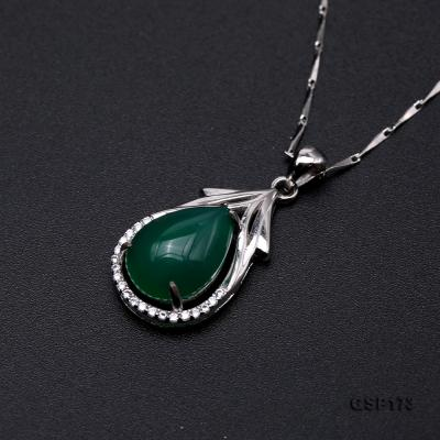 Charming 10x14mm Green Chalcedony Pendant in 925 Silver GSP173 Image 6