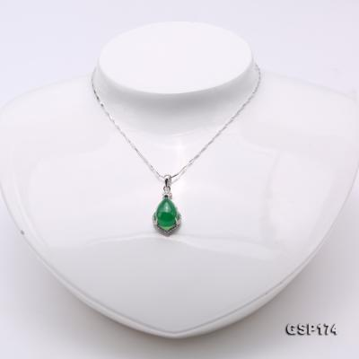 Charming 10x15mm Green Chalcedony Pendant in 925 Silver GSP174 Image 2
