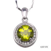 Delicate 8mm Peridot Pendant in Sterling Silver GSP175