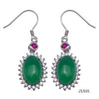 Delicate 8x12mm Green Chalcedony Sterling Silver Earrings JE005