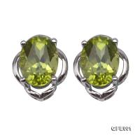 Delicate 6x8mm Natural Peridot Sterling Silver Earrings GFE001