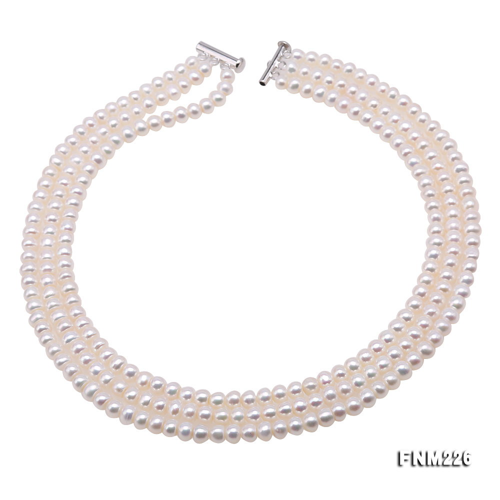 Classical 6-7mm White Pearl Three-Strand Necklace big Image 1