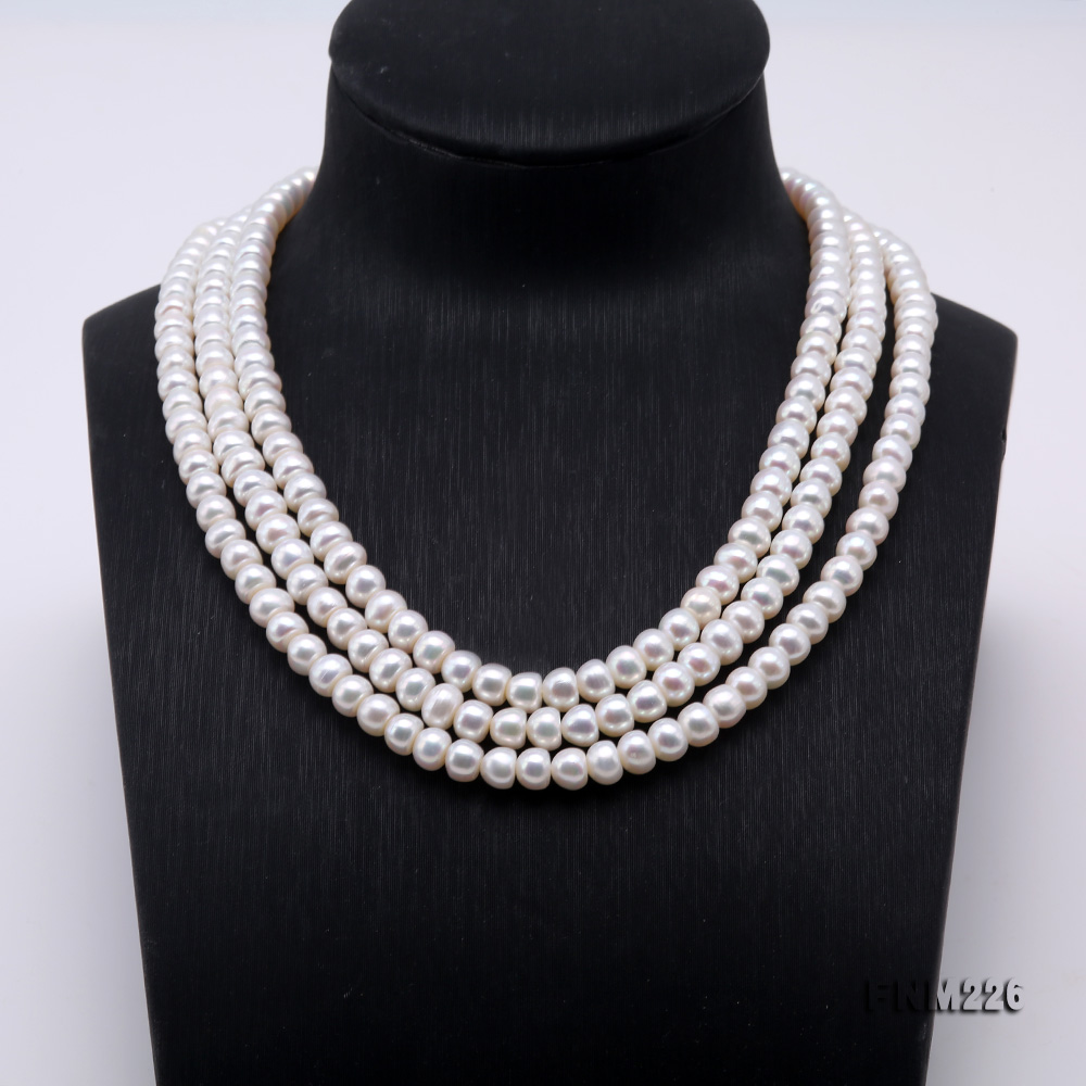 Classical 6-7mm White Pearl Three-Strand Necklace big Image 2