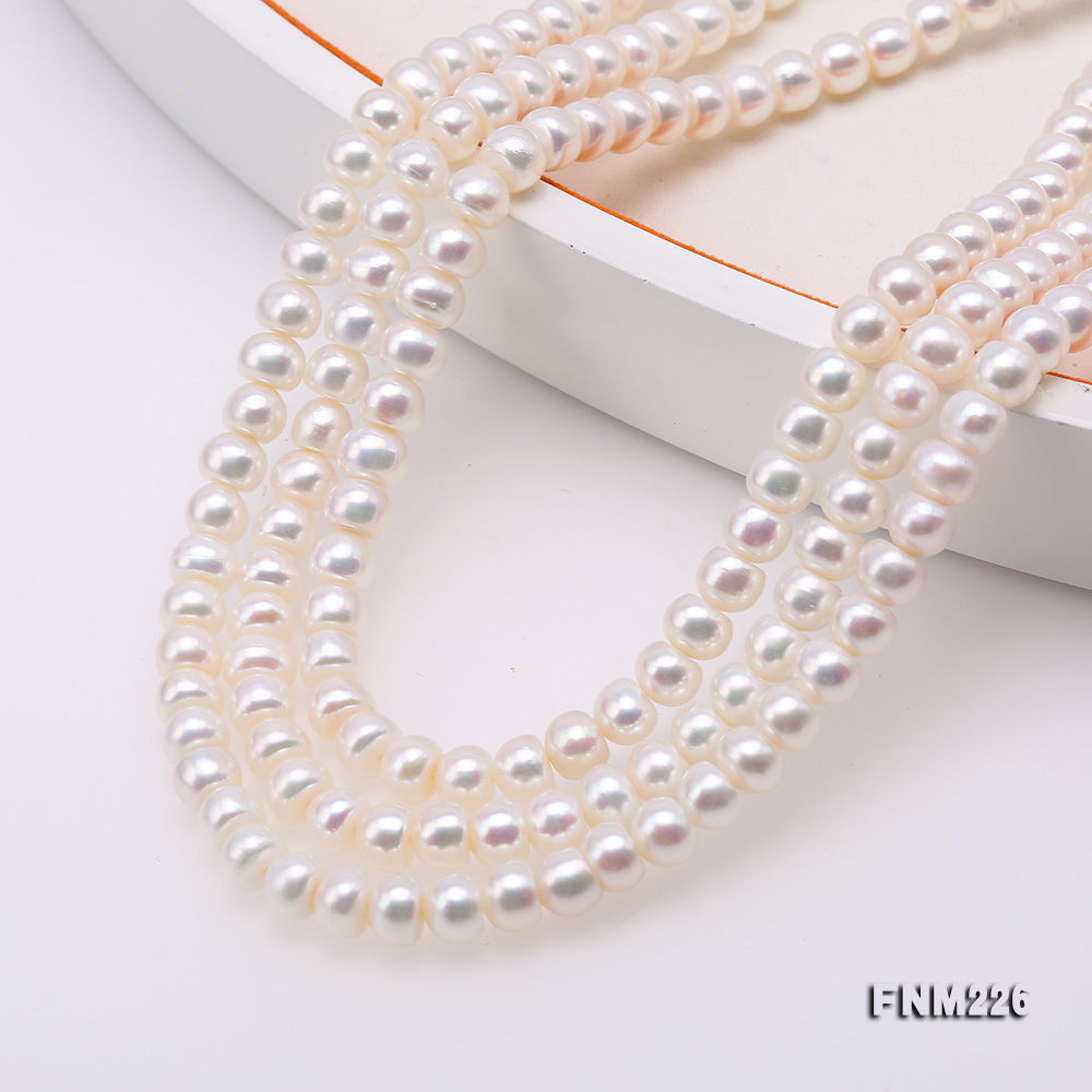 Classical 6-7mm White Pearl Three-Strand Necklace big Image 5