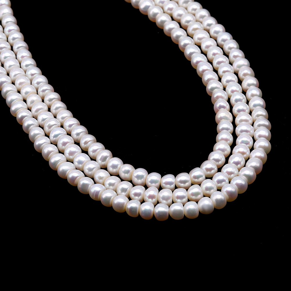 Classical 6-7mm White Pearl Three-Strand Necklace big Image 6
