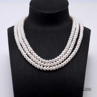 Classical 6-7mm White Pearl Three-Strand Necklace FNM226 Image 2