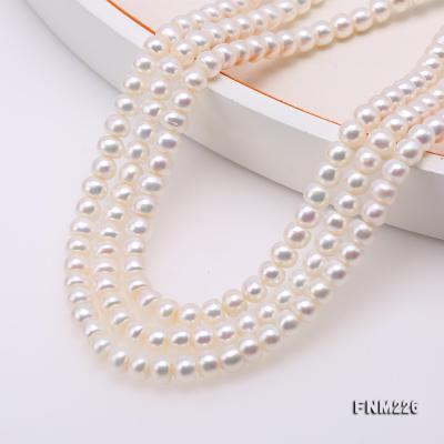 Classical 6-7mm White Pearl Three-Strand Necklace FNM226 Image 5