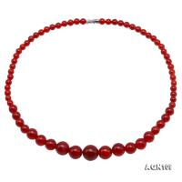 Beautiful 6-14mm Gradual Size Red Agate Necklace AGN109